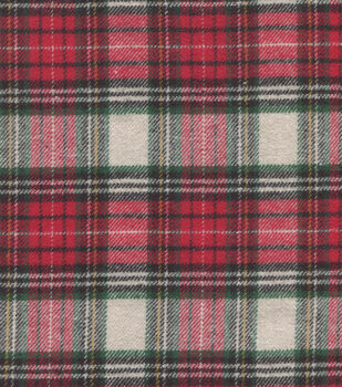 Plaid Brush Cotton-Cream Red Green