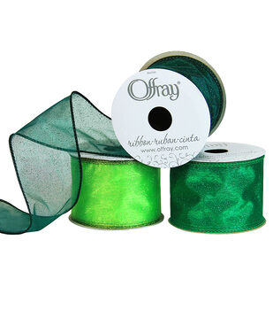 """Offray 2.25""""x9' Quest Sheers Wired Edge Ribbon"""