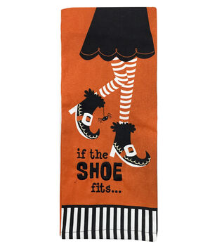 Maker's Halloween Flat Woven Hand Towel-If the Shoe Fits