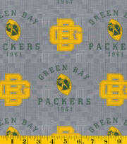 Green Bay Packers Retro NFL Gray Cotton by Fabric Traditions, , hi-res