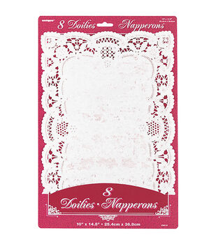 "Paper Doilies 10""X14-1/2"" Rectangle 8/Pkg-White"