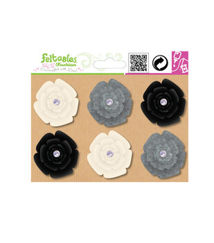 Feltables Set-Spinning Flowers-6 Pcs-Ivory/Charcoal/Black