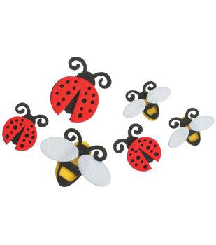 Darice Felties Stickers 18/Pkg-Lady Bugs/Bees