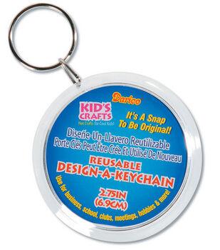 "Darice 2-3/4"" Design A Keychain Clear Plastic Keychain-6PK"