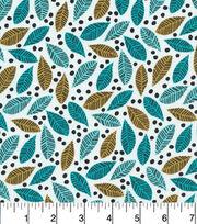 Cloud 9 Premium Cotton Fabric-Leaves Turq, , hi-res