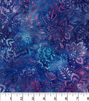 Batik Cotton Fabric - Floral Purple, , hi-res