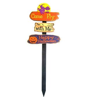 Maker's Halloween Wood Yard Stake-Halloween Sign Orange & Purple
