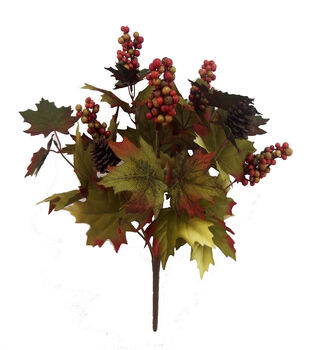 Blooming Autumn 20'' Maple Leaves & Berry Bush-Green & Orange