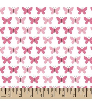 Snuggle Flannel Fabric-Butterfly Set Pink