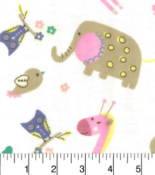 Snuggle Flannel Fabric-Baby Zoo Friends