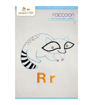Penguin & Fish Embroidery Patterns-Raccoon