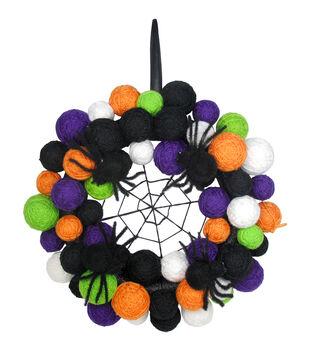 Maker's Halloween Yarn Ball Web & Spider Halloween Wreath