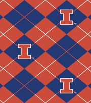 University of Illinois NCAA Argyle Fleece Fabric, , hi-res