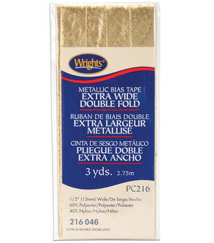 """Wrights® Double Fold Lame Bias Tape-1/2""""W x 3yds Gold"""