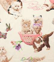 Alexander Henry Cotton Fabric-What's New Pussycat Tea, , hi-res