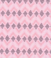 Cloud 9 Organic Cotton Knit Fabric-Diamond Lines Pink, , hi-res