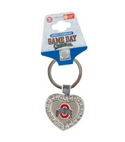 Ohio State University NCAA Heart Keychain, , hi-res