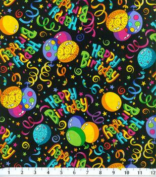 Novelty Cotton Fabric-Birthday Black