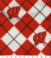 University of Wisconsin NCAA Argyle Fleece Fabric, , hi-res
