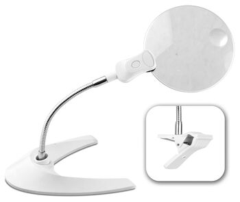 OttLite 5 Inch Led Magnifier With Base And Clip