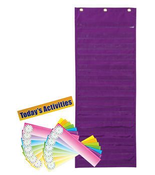 "Dry Erase Activity Pocket Chart, Purple, 13""x34"""