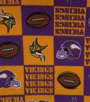 Minnesota Vikings NFL Block Fleece Fabric by Fabric Traditions, , hi-res