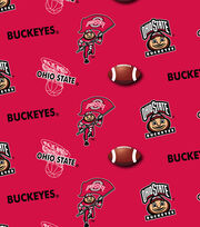 Ohio State University NCAA All-over Cotton Reversible Fabric-Red, , hi-res