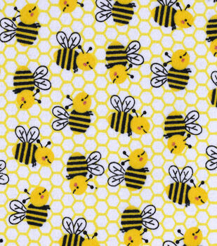 Snuggle Flannel Fabric-Honeycomb Bee