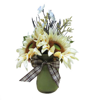 Blooming Autumn Glass Sunflower Arrangement-Green