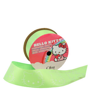 1 And Half In Hello Kitty Neon Green Ribbon