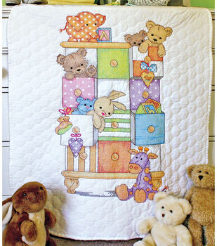 Dimensions Baby Hugs Stamped Cross Stitch Kit Quilt Baby Drawers
