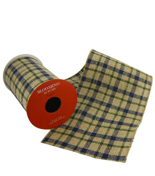 Blooming Autumn Ribbon 5''x15'-Plaid with Navy
