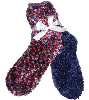 Feather Red White Navy Feather Sock
