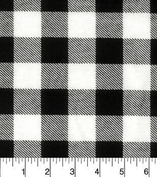 Snuggle Flannel Fabric-Black White Buffalo Check