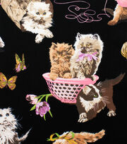 Alexander Henry Cotton Fabric-What's New Pussycat Black, , hi-res