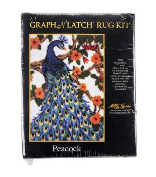 MCG Textiles Latch Hook Kit 27''x40''-Peacock