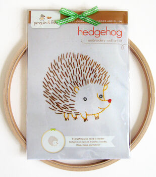 """Penguin & Fish Embroidery Kits 8"""" Round Stitched In Floss-Hedgehog"""
