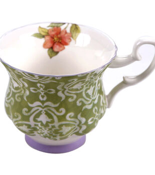 Susan Winget Tea Cup-Green/Purple Damask