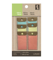 "Inkadinkado Colored Muslin Fabric Tags 1.125""X2.25"" 6/Pkg-Small, , hi-res"