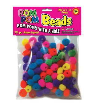 Pepperell 75pcs Pom-Pom Beads