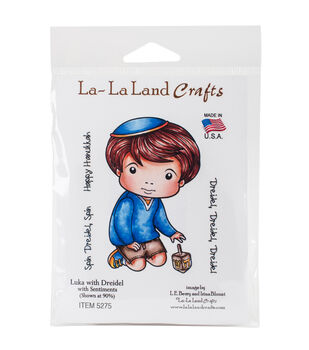 La-La Land Crafts Cling Stamps-Luka With Dreidel