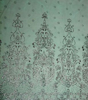 Glitterbug  Special Occasion Fabric- Princess Border Glitter Sheer Teal & Silver