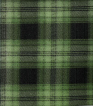 Blizzard Fleece Fabric Green Navy Plaid