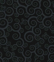 Keepsake Calico™ Cotton Fabric-Scroll On Black , , hi-res