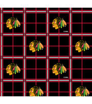 Chicago Blackhawks NHL Plaid Flannel Fabric, , hi-res