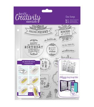 Docrafts Creativity Essentials A5 Clear Stamp Set-Folk Sentiment