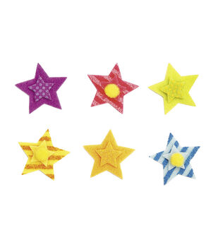 Felt Stickers - Layered Stars with Poms