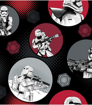 Star Wars VII Stormtroopers In Circles Fleece Fabric