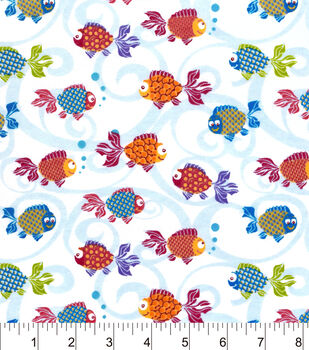 Snuggle Flannel Fabric-Bright Fishies