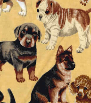 Snuggle Flannel Fabric - Photo Real Dog